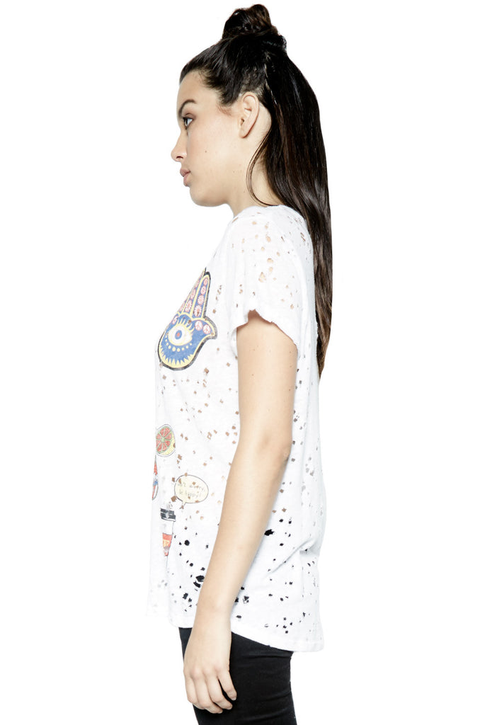 Moon Hello Smile S/S V-Neck Vintage Tee