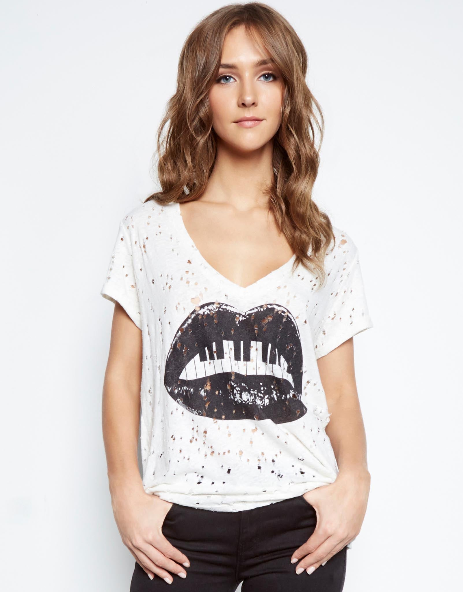 Moon Piano Mouth S/S V-Neck Vintage Tee - Lauren Moshi