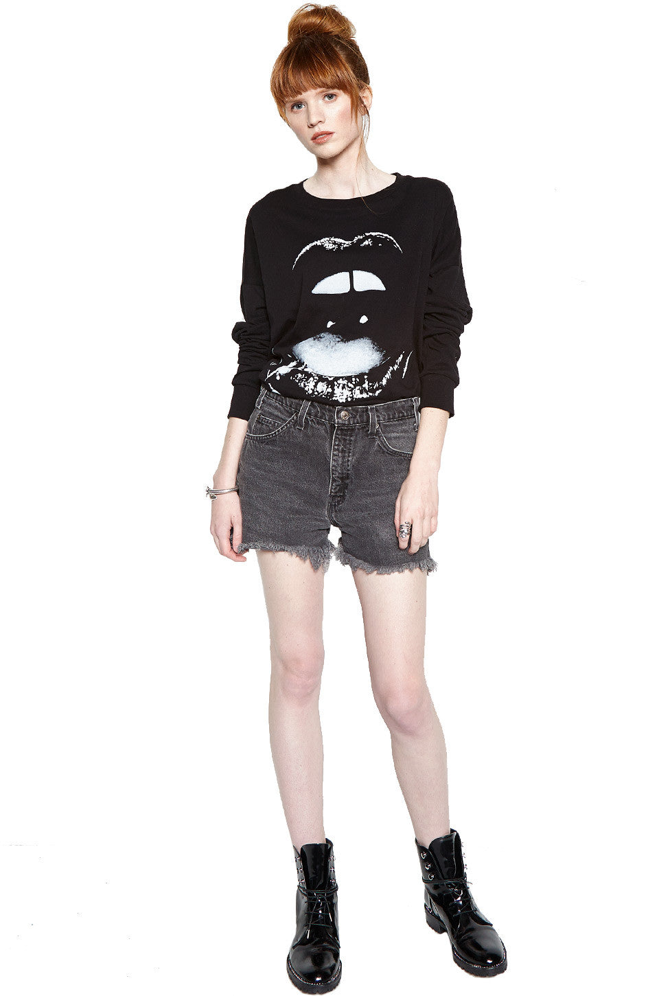 Lassie Lip Piercing L/S Drop Shoulder Oversized Tee - Lauren Moshi