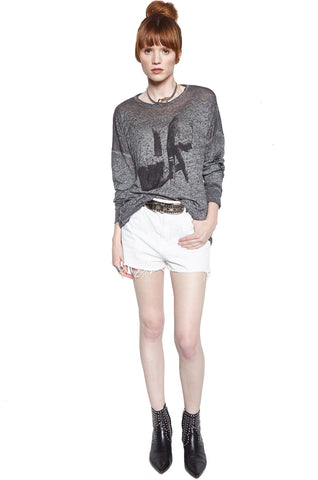 Lauren Moshi Women's Lassie LA Hands w/ Text L/S Drop Shoulder Oversized Tee - Heather Grey Burnout