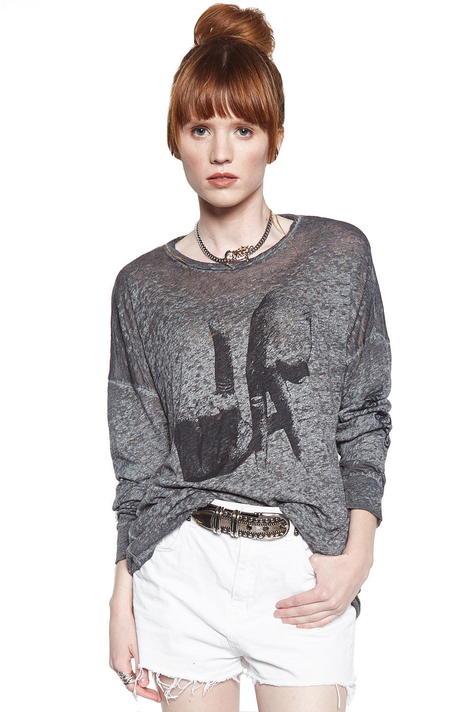 Lauren Moshi Women's Lassie LA Hands w/ Text L/S Drop Shoulder Oversized Tee