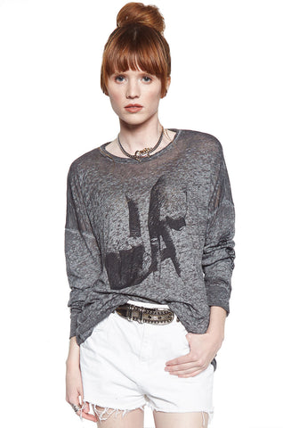 Lassie Lip Piercing L/S Drop Shoulder Oversized Tee