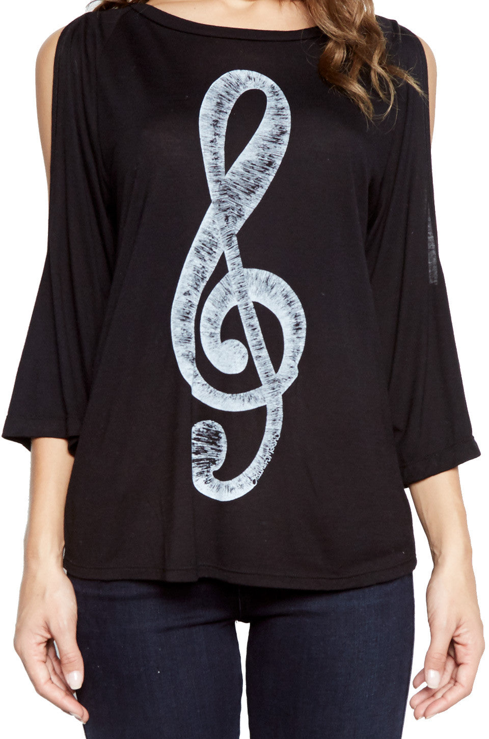 Lauren Moshi Women's Neala Treble Clef 3/4 Bell Slv Open Shoulder Top - Black
