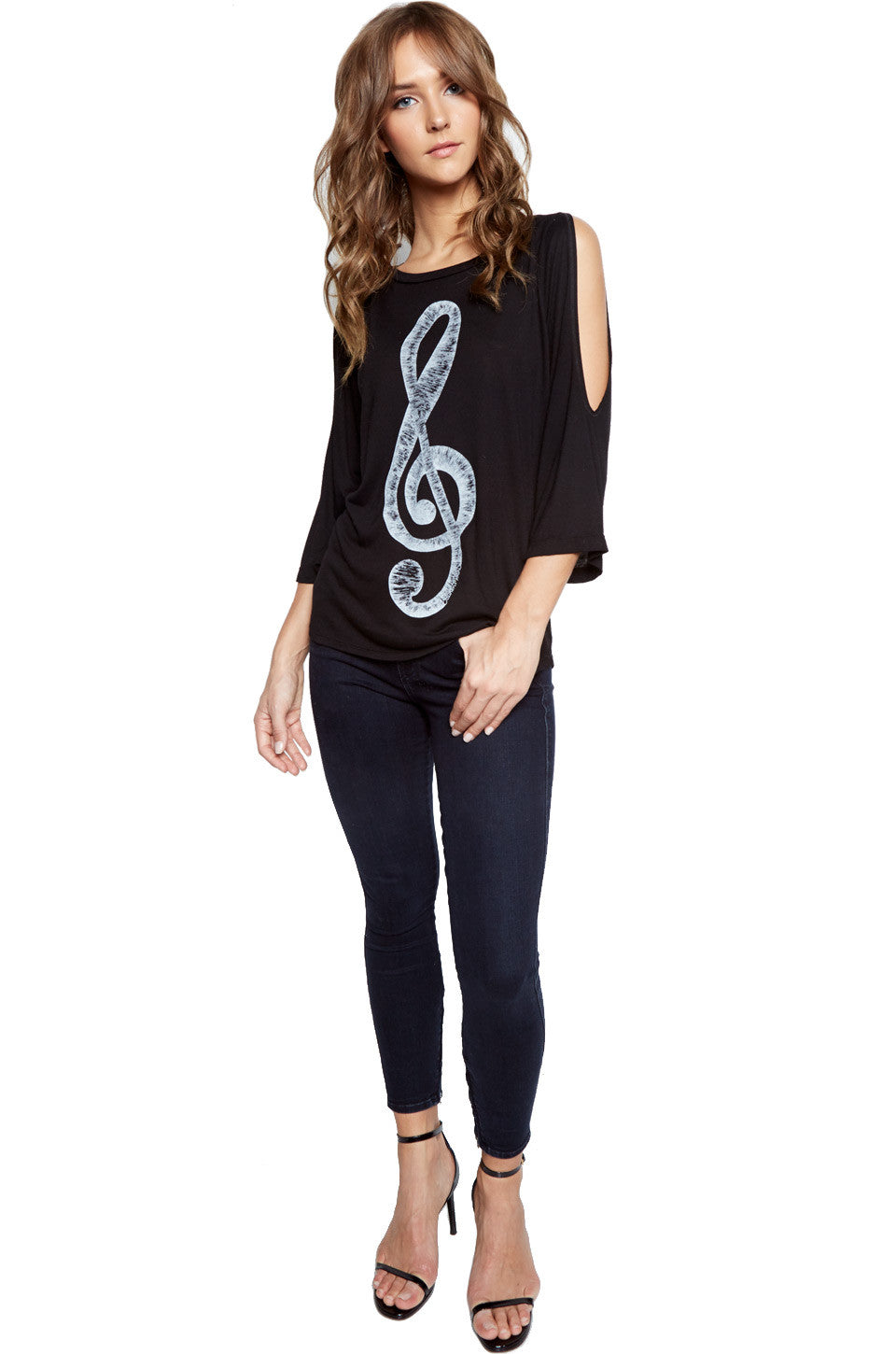 Lauren Moshi Women's Neala Treble Clef 3/4 Bell Slv Open Shoulder Top