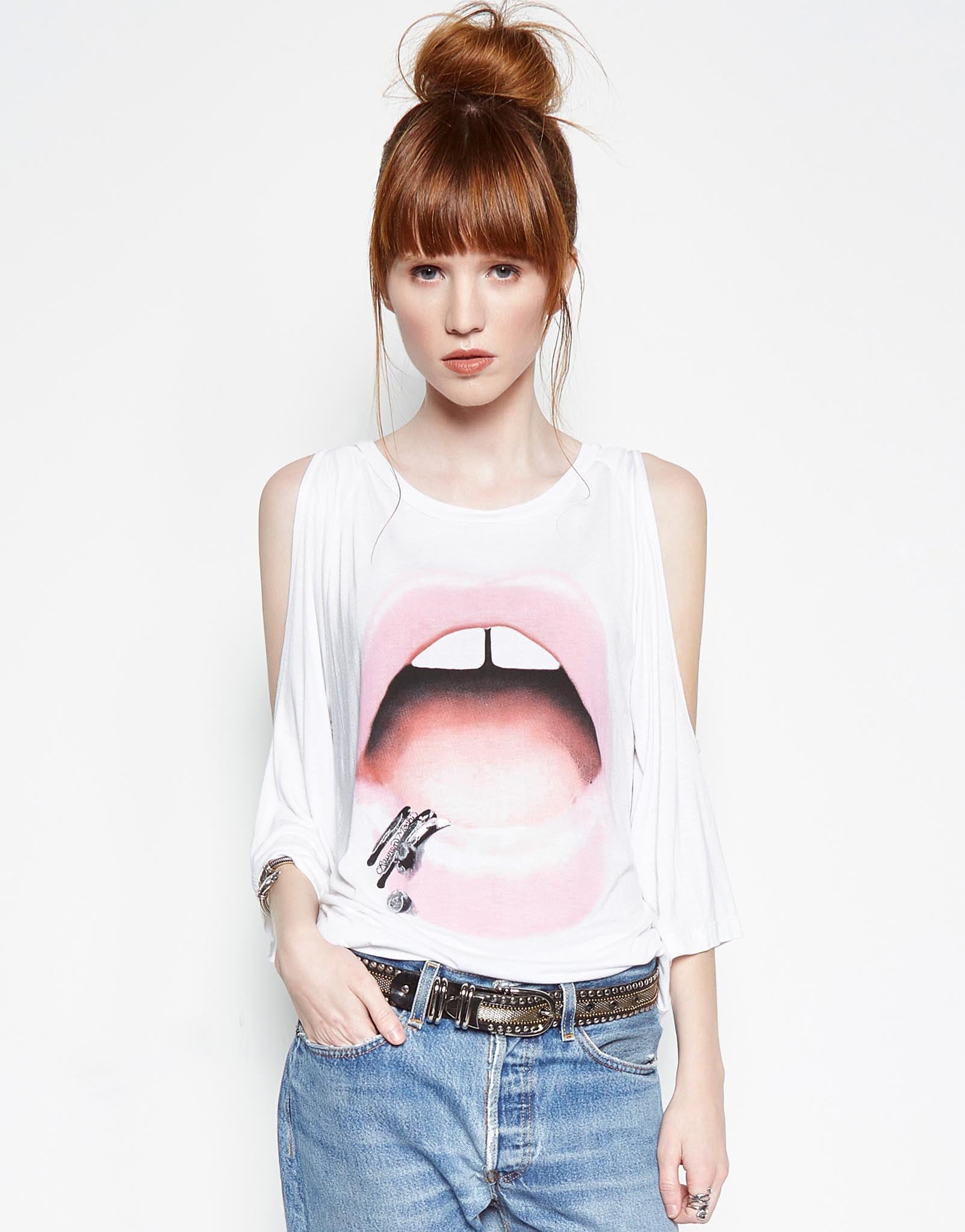 Neala Pink Lip Piercing 3/4 Bell Slv Open Shoulder Top - Lauren Moshi