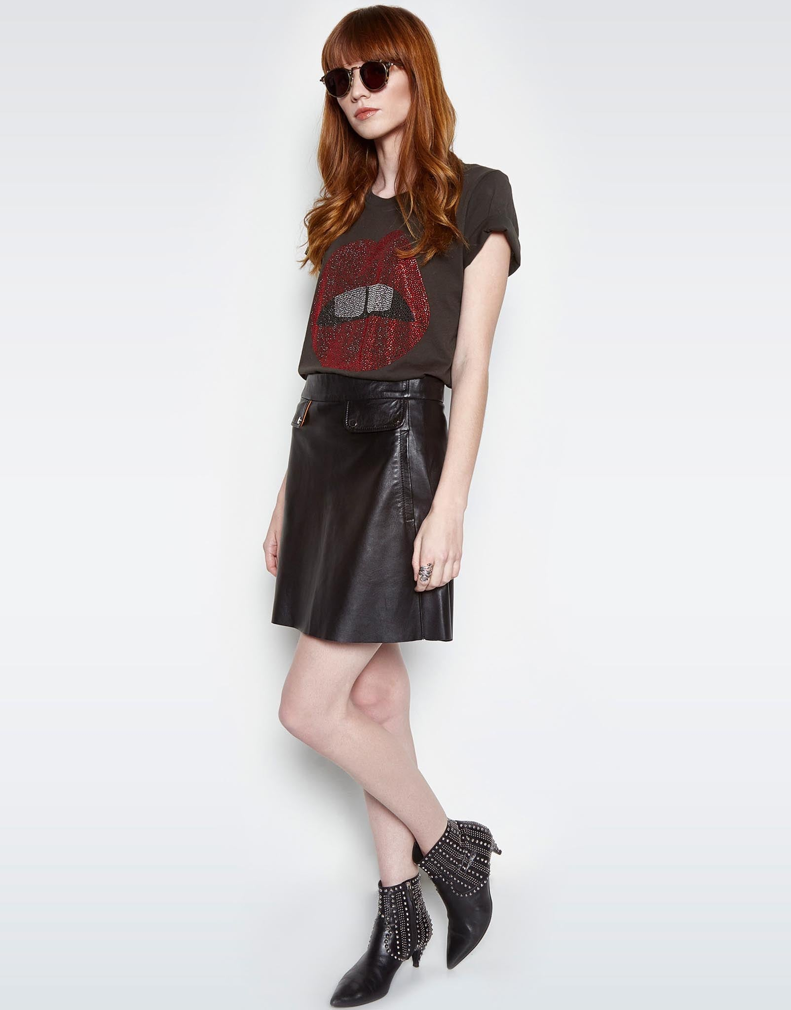 Lauren Moshi Women's Croft Crystal Red Bold Mouth S/S Vintage Tee - Faded Black