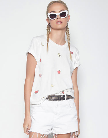 Lauren Moshi Women's Croft Mini Fruit S/S Vintage Tee - White