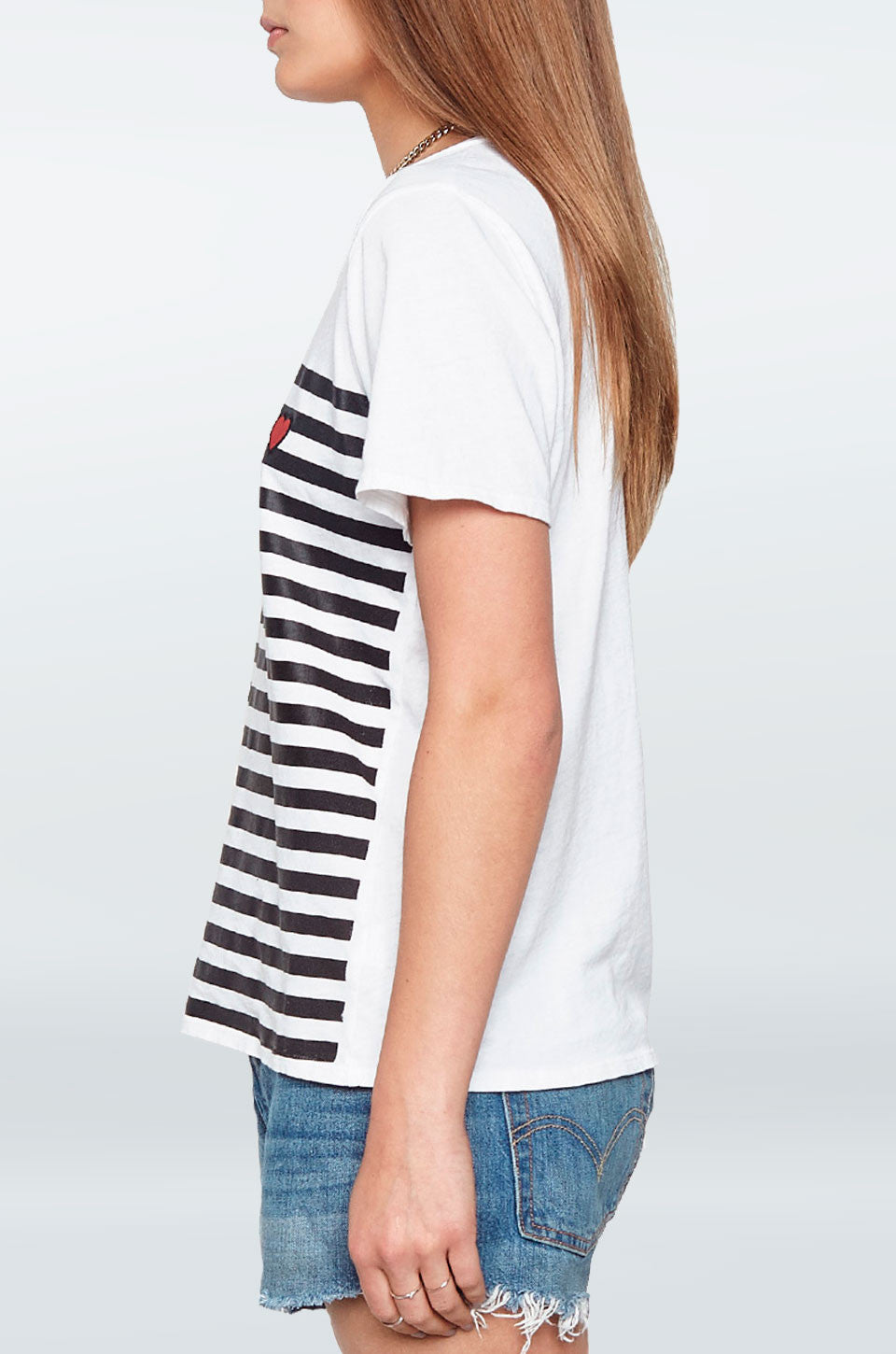Lauren Moshi Women's X Exclusive X Croft Little Red Heart Patch Striped S/S Vintage Tee - White