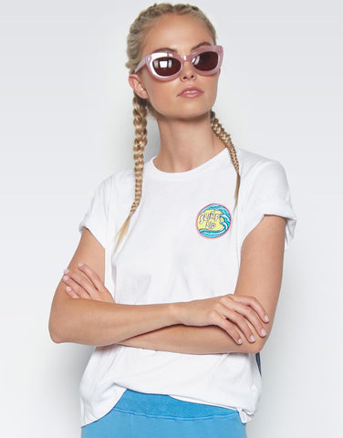 Lauren Moshi Women's Croft Bright Shark w/ Surf's Up Patch S/S Vintage Tee - White