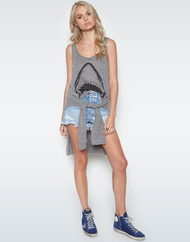 Lauren Moshi Women's Julianna Shark Classic Scoop Neck Tank - Heather Grey