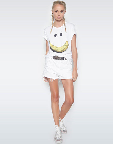 Lauren Moshi Women's Evie Happy Banana S/S Crop Tee - White