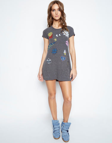 Lauren Moshi Women's Lana Love & Smile S/S Mini T-Shirt Dress