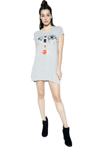 Lauren Moshi Women's Lana Charm Face S/S Mini T-Shirt Dress