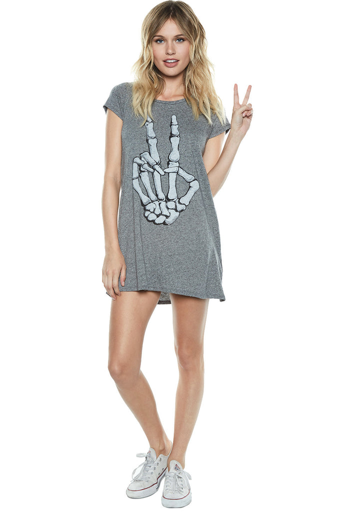 Lana Skeleton Peace S/S Mini T-Shirt Dress - Lauren Moshi