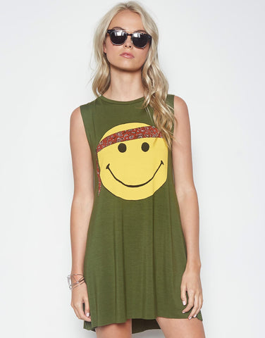 Lauren Moshi Women's Deanna Color Happy Hippie Sleeveless Dress - Military