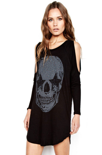 Jessia Star Eye Skull L/S Open Shoulder Dress - Lauren Moshi - 1
