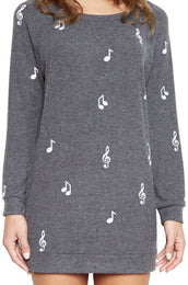 Bel Allover Music Notes L/S Pullover Sweatshirt Dress