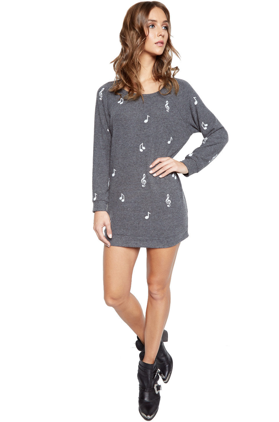 Lauren Moshi Women's Bel Allover Music Notes L/S Pullover Sweatshirt Dress - Black