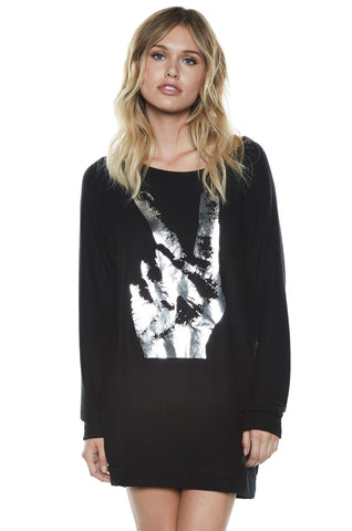 Bel Peace Hand L/S Pullover Sweatshirt Dress - Lauren Moshi - 1