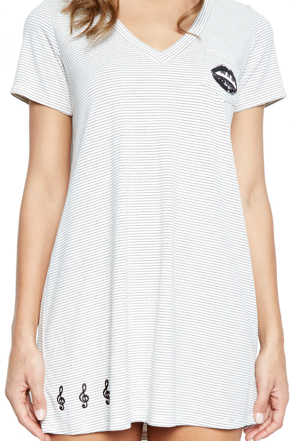 Lauren Moshi Women's Nessa SML Piano Mouth V-Neck Dress w/Pocket & Patches - White Black Stripe