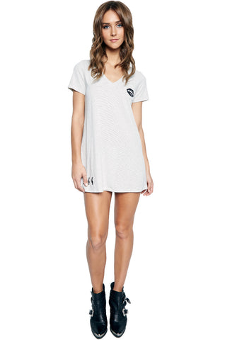 Nessa SML Piano Mouth V-Neck Dress w/Pocket & Patches - Lauren Moshi