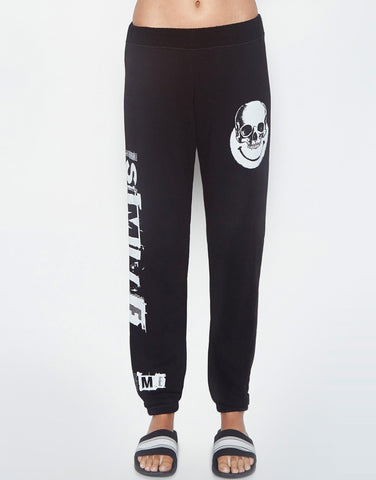 Lauren Moshi Women's Gia Happy Skull Long Sweatpant w/Reverse W/B - Black