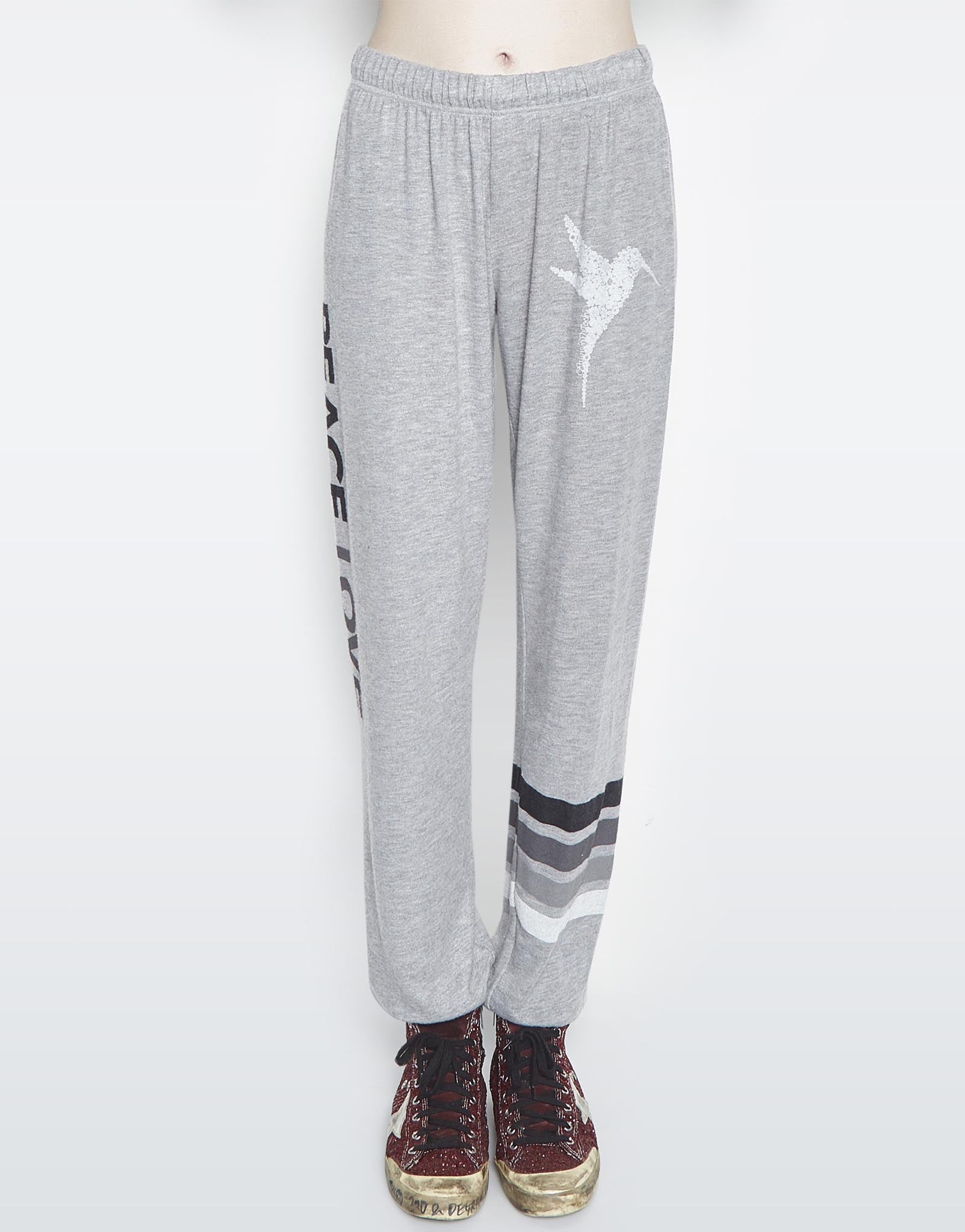 Lauren Moshi Women's Tanzy SML Flower Bird w/ Text & Stripe Long Pant - Heather Grey