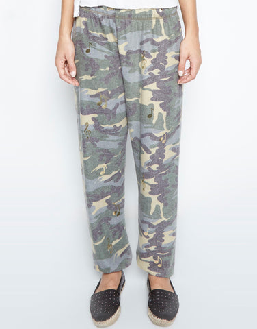 Lauren Moshi Women's Tanzy Allover Music Notes Long Pant - Vintage Camo