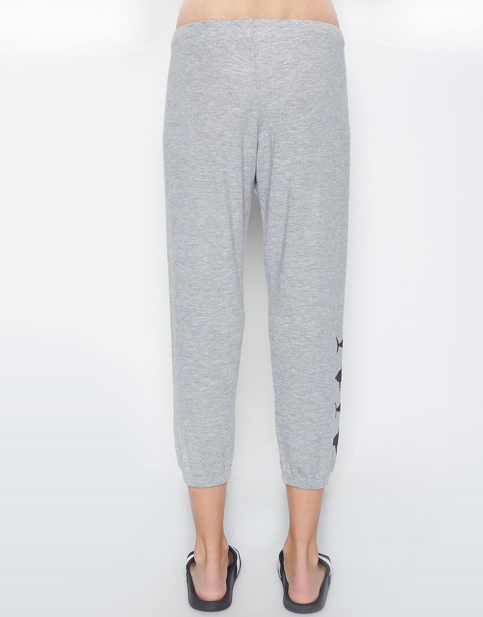 Lauren Moshi Women's Alana Shark Leg Crop Sweat Pant -
