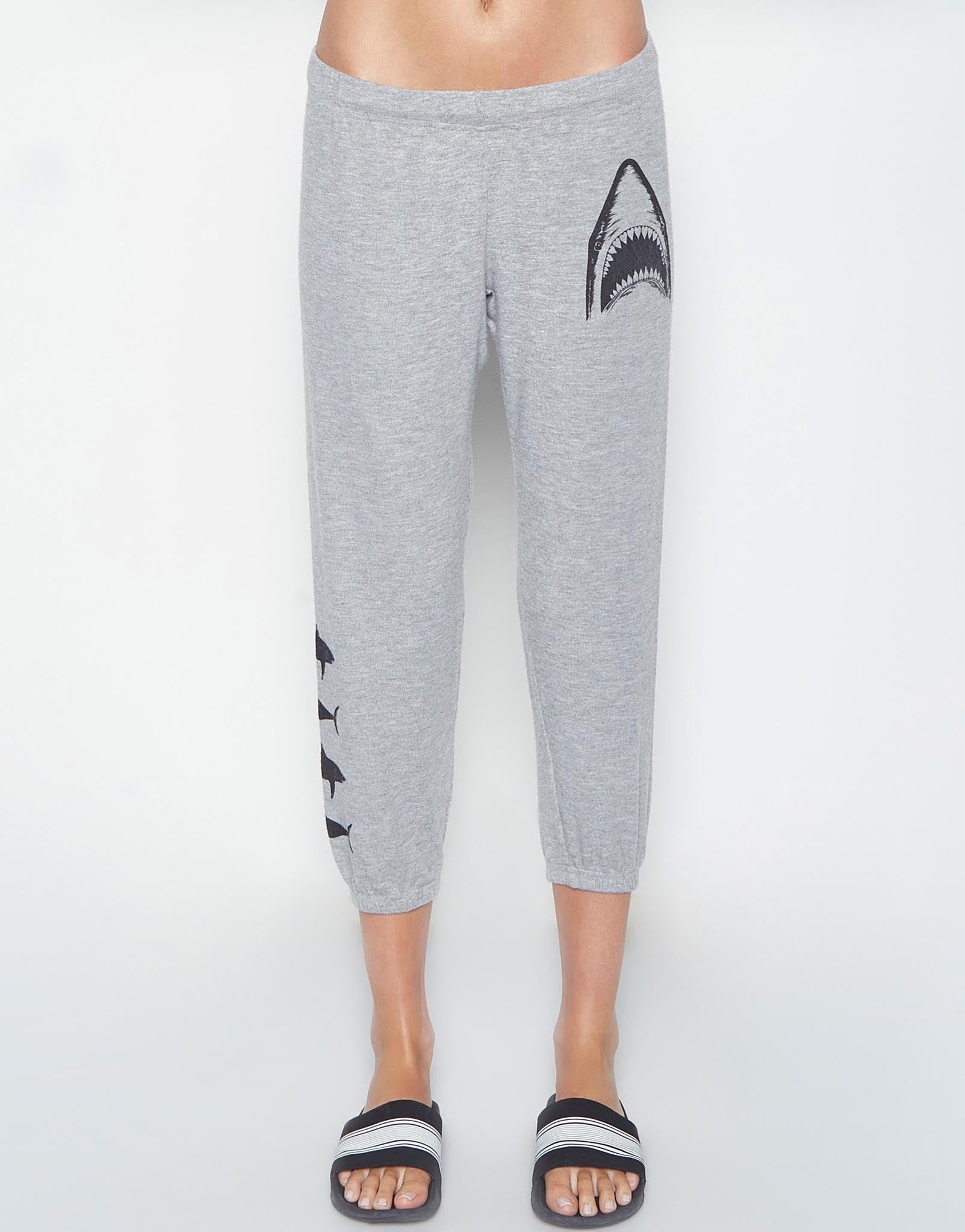 Lauren Moshi Women's Alana Shark Leg Crop Sweat Pant - Heather Grey