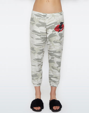 Lauren Moshi Women's Alana Lightning Bolt Lip Crop Sweat Pant - Green Camo