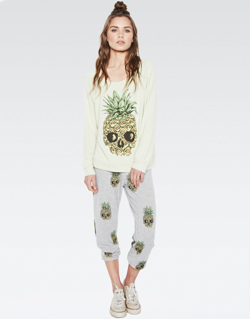Alana Mini Color Pineapple Skulls Crop Sweat Pant