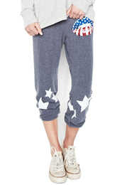 Alana Rocker Mouth w/Leg Stars Crop Sweat Pant