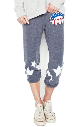 Alana Rocker Mouth w/Leg Stars Crop Sweat Pant - Lauren Moshi