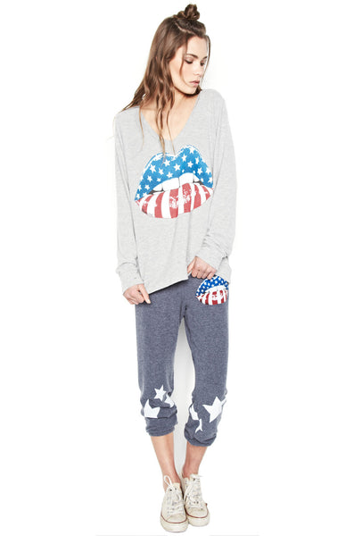 Alana Rocker Mouth w/Leg Stars Crop Sweat Pant - Lauren Moshi - 1