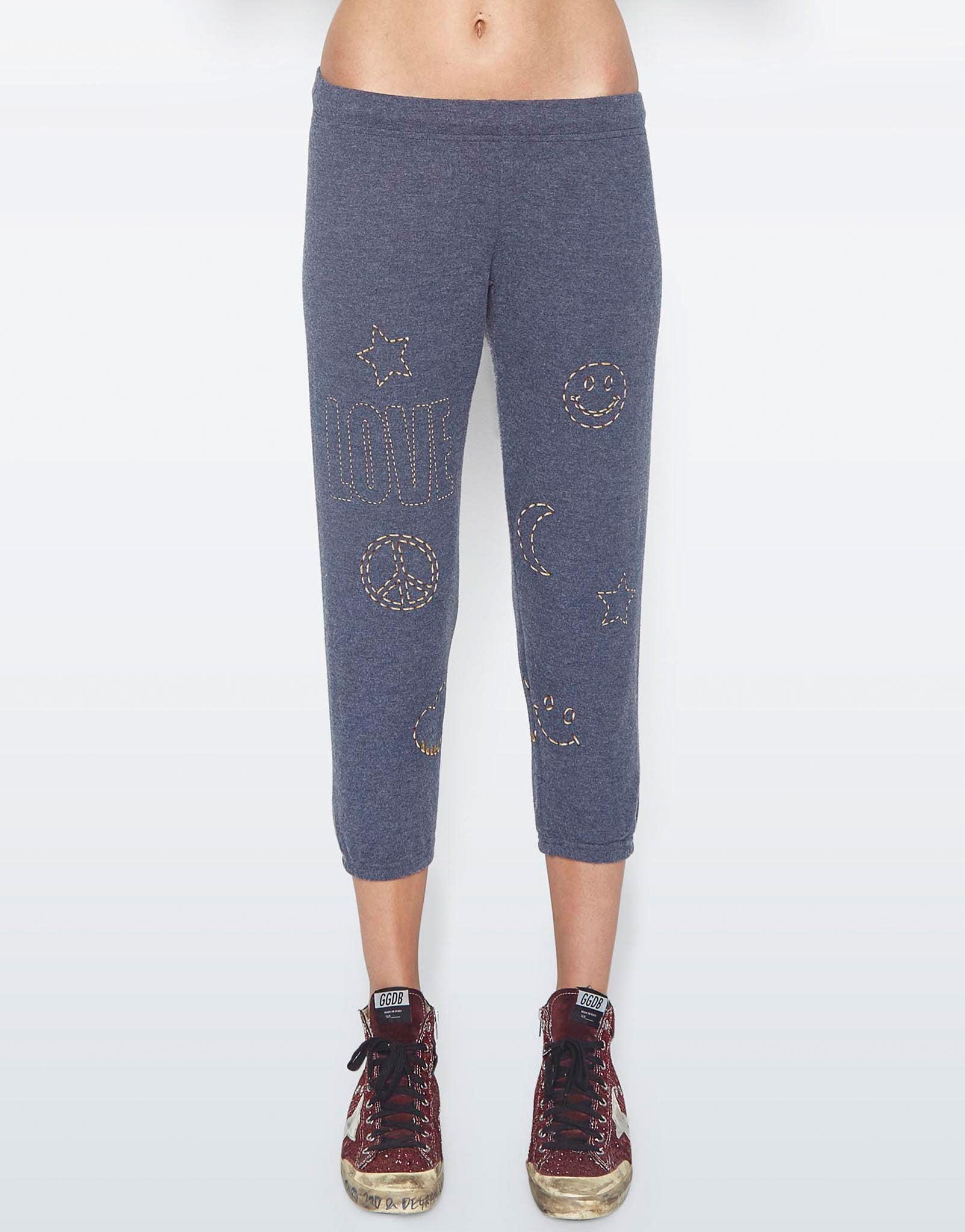 Lauren Moshi Women's Alana Stitched Love Elements Crop Sweat Pant - Navy