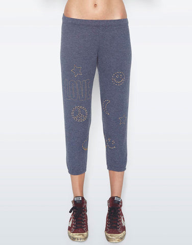 Lauren Moshi Women's Alana Stitched Love Elements Crop Sweat Pant
