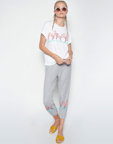 Lauren Moshi Women's Alana Flamingo Row Crop Sweat Pant -