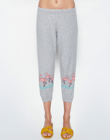 Lauren Moshi Women's Alana Flamingo Row Crop Sweat Pant - Heather Grey