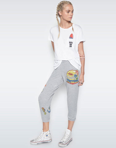 Alana Mermaid Patches Crop Sweat Pant