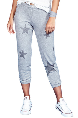 Lauren Moshi Women's Alana Mini Stripe Stars Crop Sweat Pant - Heather Grey