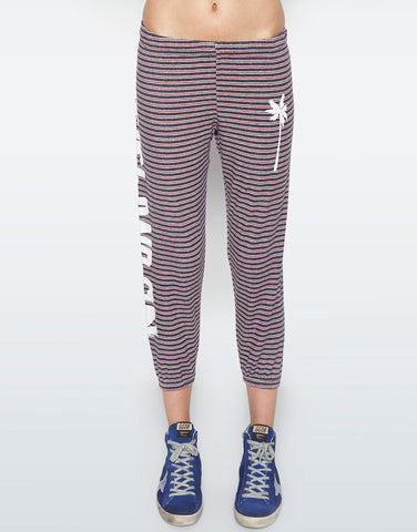 Lauren Moshi Women's Alana Solid Beach & Sun Crop Sweat Pant - Navy Stripe