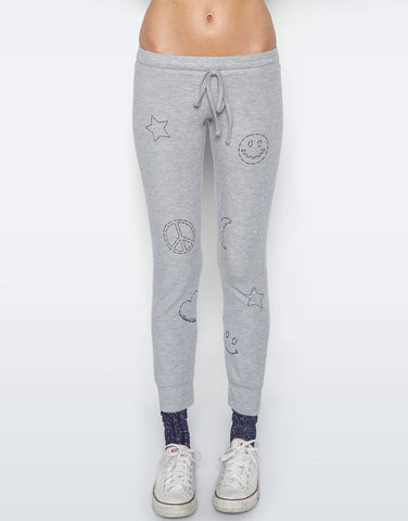 Sherri Grey Scribble Mini Stars Jogger w/Knee Slits