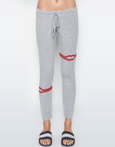Lauren Moshi Women's Kizzy Zipper Lip Classic Sweatpant w/Cuff - Heather Grey