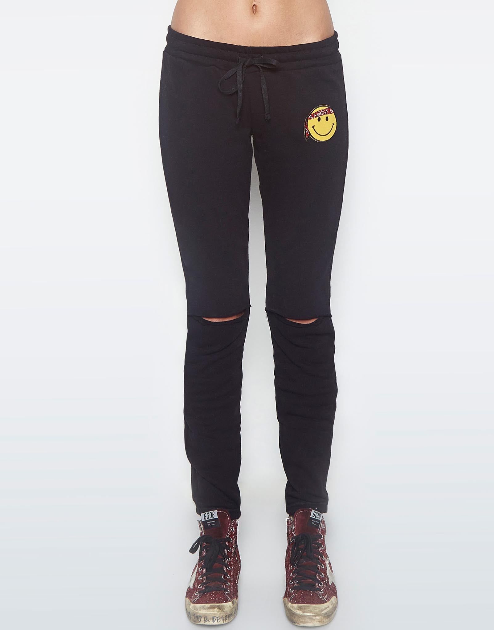 Lauren Moshi Women's Sherri Happy Hippie Patch Jogger w/Knee Slits - Black