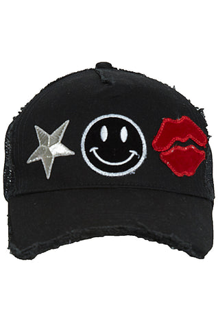 Jilly Happy Star Mouth Canvas Trucker Hat - Lauren Moshi - 1