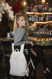 Quincy White Mouth Patch Sherpa Backpack