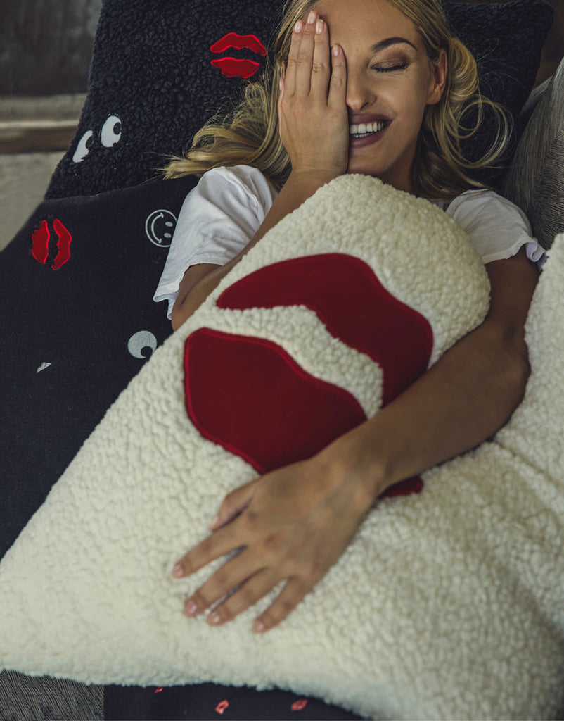 Livie Red Mouth Patch Faux Fur Pillow