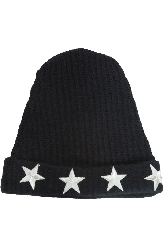 Blix Silver Metallic Stars Cashmere Slouch Beanie
