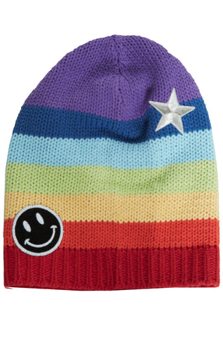 Lauren Moshi Women's Blossom Metallic Star Happyface Rainbow Beanie